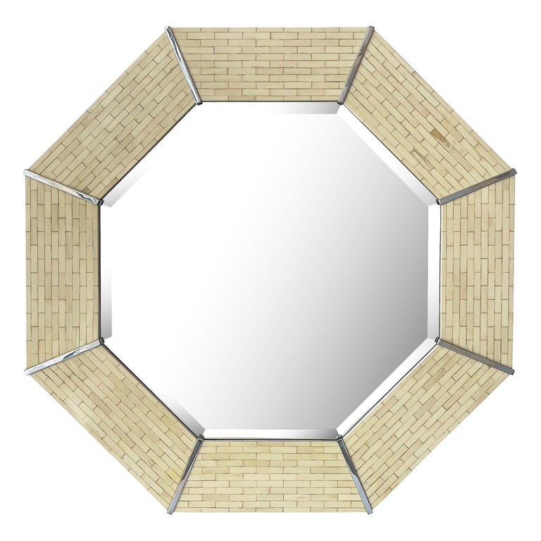 Karl Springer Tessellated Bone Octagon Wall Mirror For Sale