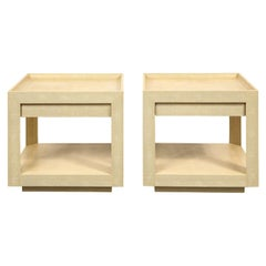 Karl Springer Tray Top End Tables in Embossed Lizard 1989 'Signed'