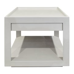 """Karl Springer """"Tray Top Side Table"""" in Embossed Lizard Leather 1980s 'Signed'"""