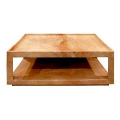 """Karl Springer """"Triangular Leg Coffee Table"""" in Goatskin, 1980s 'Signed'"""
