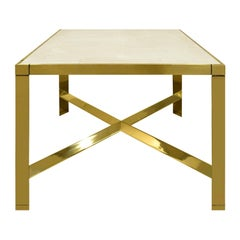 """Karl Springer """"Triangular Leg Metal End Table"""" with Shagreen Top 1980s 'Signed'"""