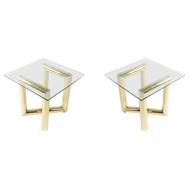 Karl Springer Tubular Brass Z Tables with Glass Tops