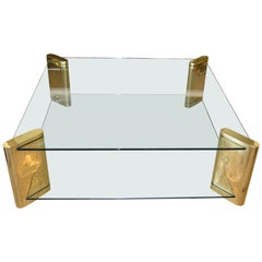 Karl Springer Two-Tier Mid-Century Modern Brass and Glass Coffee Table, Signed