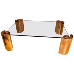 Karl Springer Two-Tone Modern Cylinder Base Coffee Table
