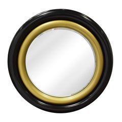 "Karl Springer Wall Hanging ""Bullseye Mirror"" in Black and Gold Lacquer, 1980s"