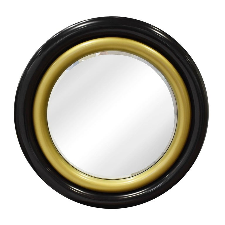 """Karl Springer Wall Hanging """"Bullseye Mirror"""" in Black and Gold Lacquer, 1980s For Sale"""