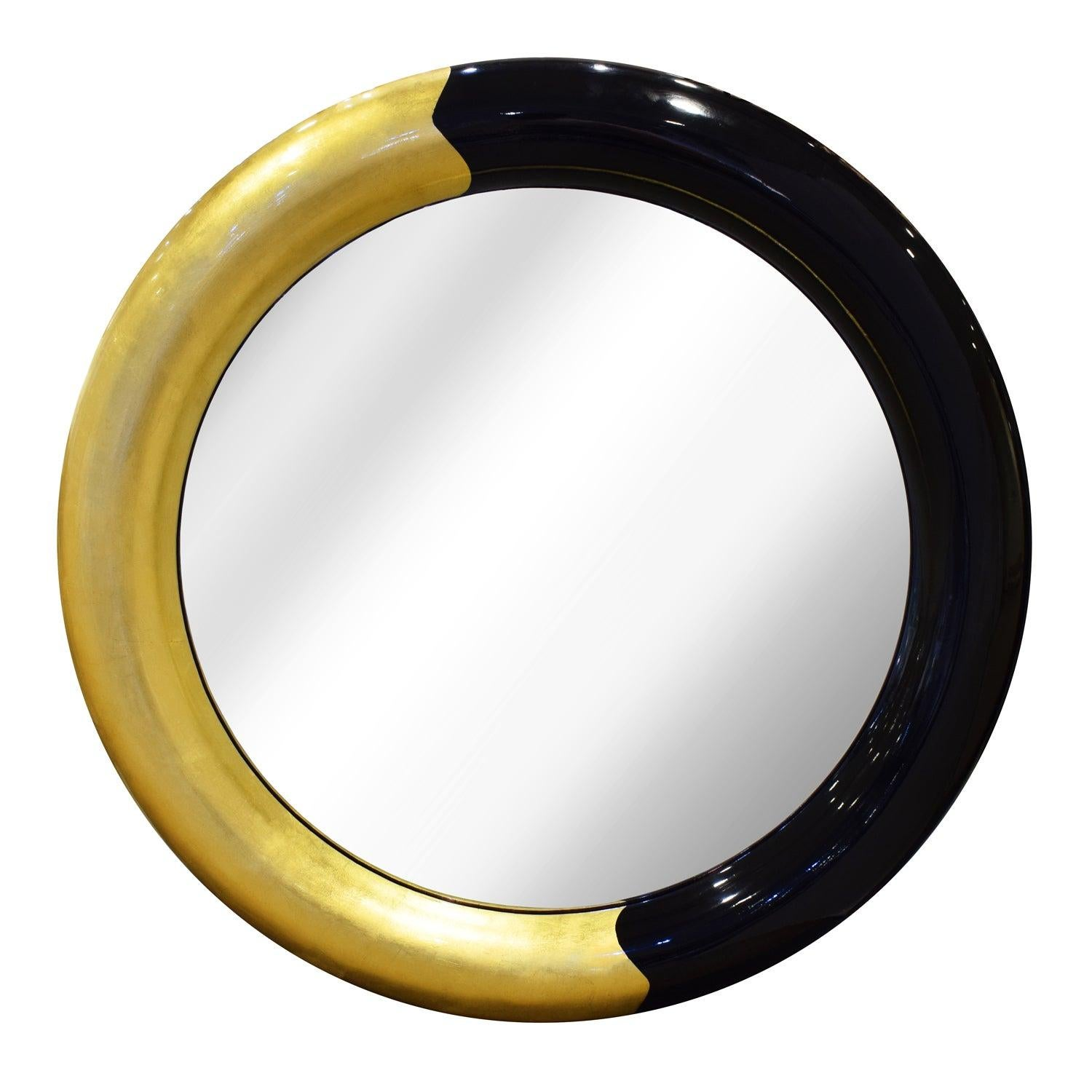 """Karl Springer Wall Hanging """"Bullseye Mirror"""" in Lacquer and Gold Leaf, 1980s"""