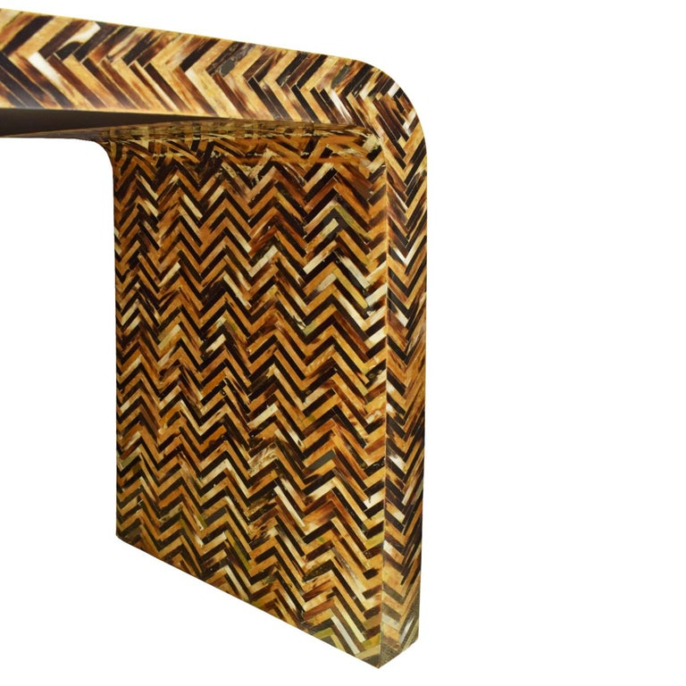 American Karl Springer Waterfall Console Table in Lacquered Tessellated Horn, 1970s For Sale