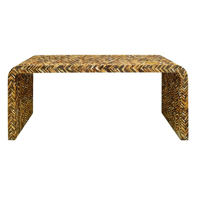 Karl Springer Waterfall Console Table in Lacquered Tessellated Horn, 1970s For Sale