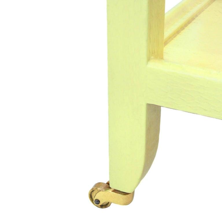 Modern Karl Springer Yellow Cobra Telephone Table with Brass Castors 1985 'Signed' For Sale