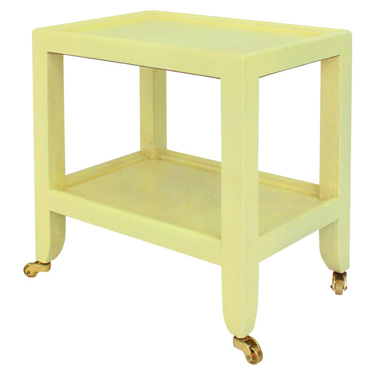 Karl Springer Yellow Cobra Telephone Table with Brass Castors 1985 'Signed' For Sale