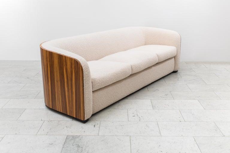 Zebra Wood Karl Springer, Zebrano Pullman Sofa, USA, c. 1980 For Sale