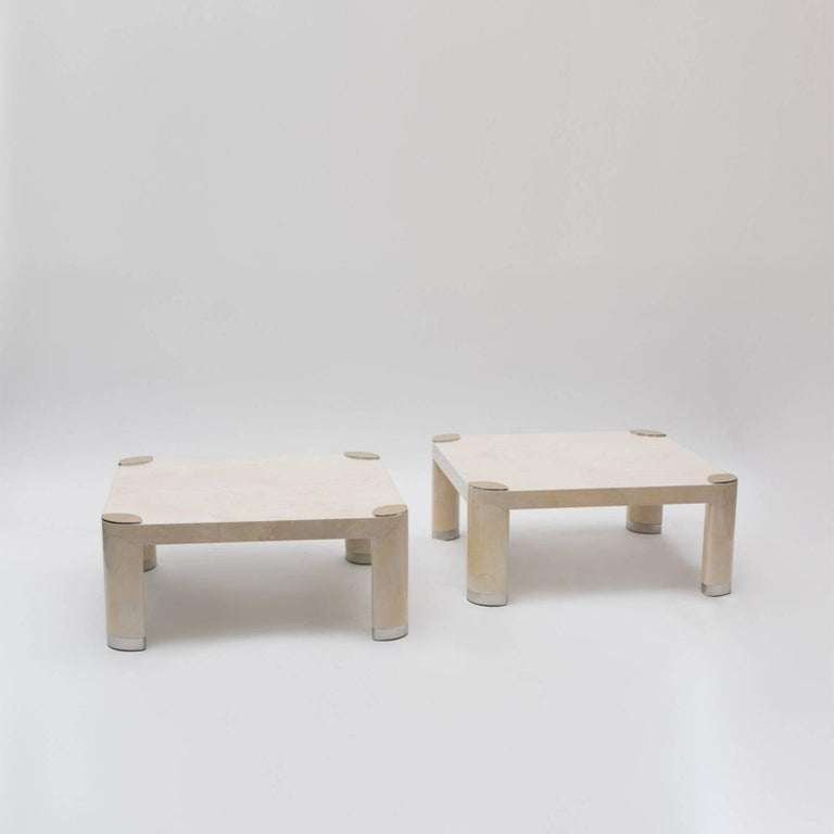Karl Springer, Pair of Goatskin Occasional Tables, USA, c. 1980s For Sale