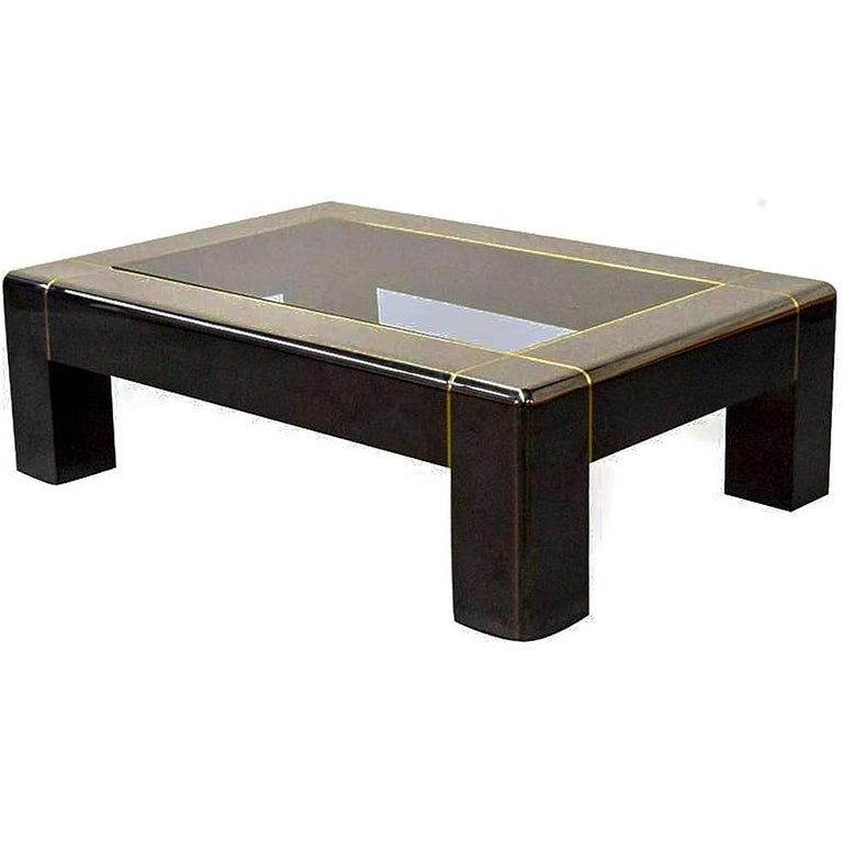 Karl Springer, Rare Gunmetal and Glass Low-Table For Sale