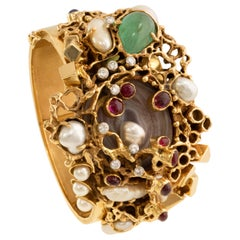 Karl Stittgen Diamond, Ruby, Emerald, Pearl and Gold Cuff Bracelet, circa 1970