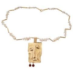 Karl Stittgen Freshwater Pearl Garnet Yellow Gold Artist Style Pendant Necklace
