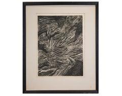 """Striations"" Abstract Expressionist Etching"