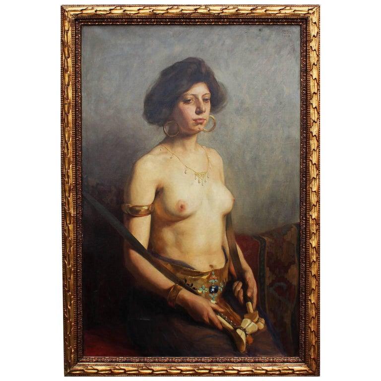 "Karl Viktor Mayr, Austrian Oil on Canvas ""An Exotic Nude Girl"" For Sale"