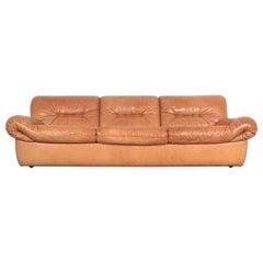 Karl Wittmann Chairman Sofa Cognac Brown Leather by Bruno Egger, Austria 1971