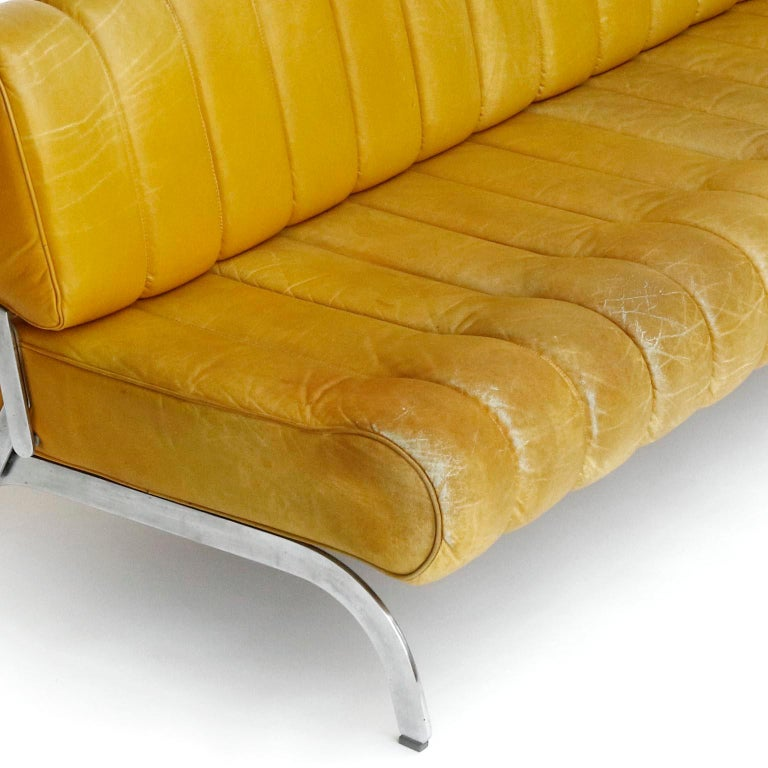 Karl Wittmann Sofa Daybed Independence, Patinated Yellow Leather, Austria, 1970s For Sale 6