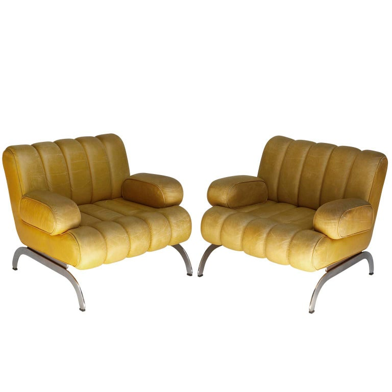 Karl Wittmann Sofa Daybed Independence, Patinated Yellow Leather, Austria, 1970s For Sale 7