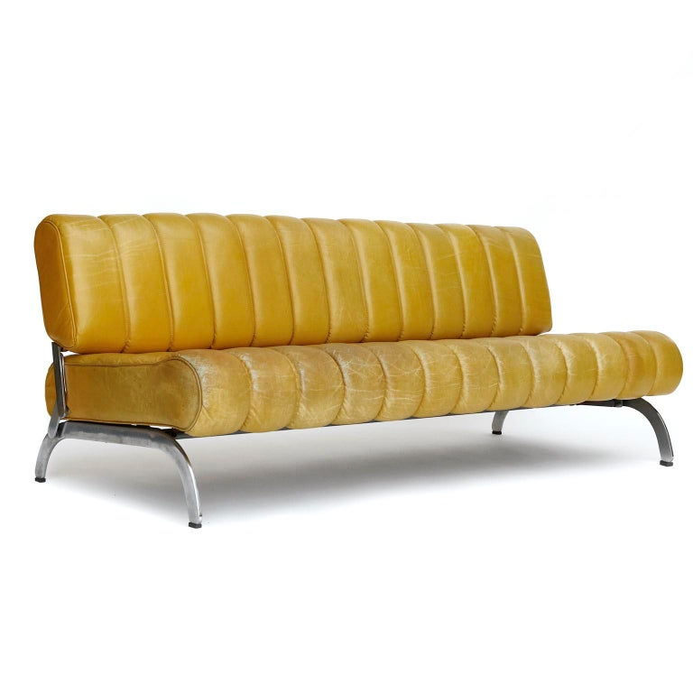 Mid-Century Modern Karl Wittmann Sofa Daybed Independence, Patinated Yellow Leather, Austria, 1970s For Sale