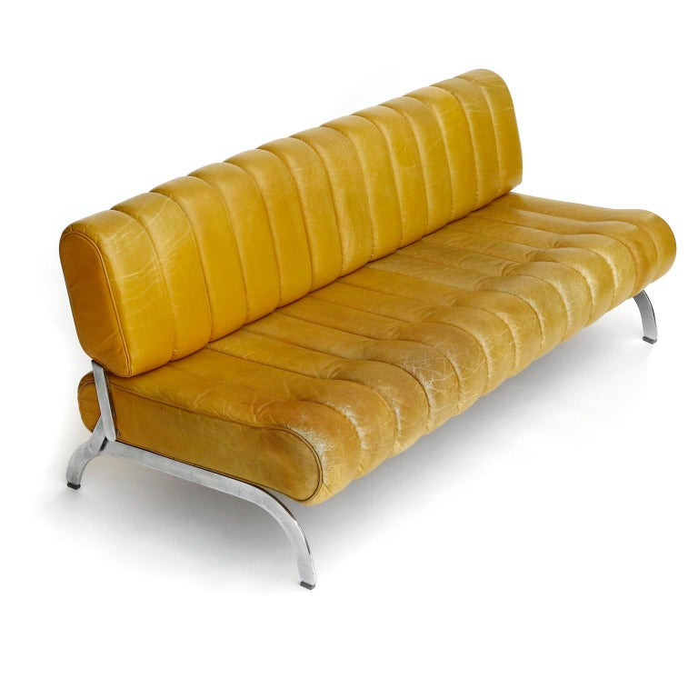 Austrian Karl Wittmann Sofa Daybed Independence, Patinated Yellow Leather, Austria, 1970s For Sale