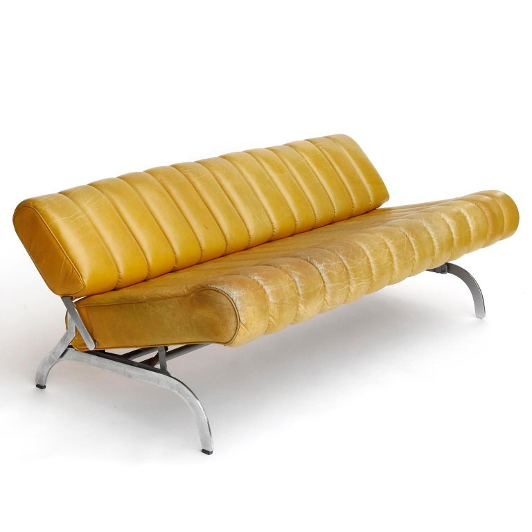 Metal Karl Wittmann Sofa Daybed Independence, Patinated Yellow Leather, Austria, 1970s For Sale