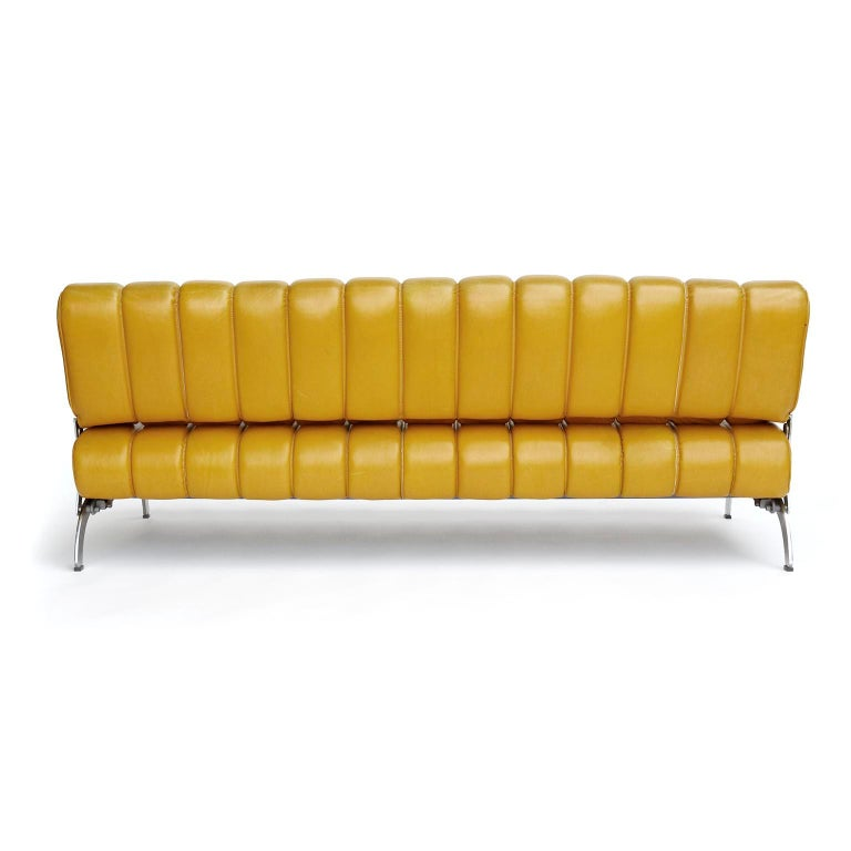 Karl Wittmann Sofa Daybed Independence, Patinated Yellow Leather, Austria, 1970s For Sale 1