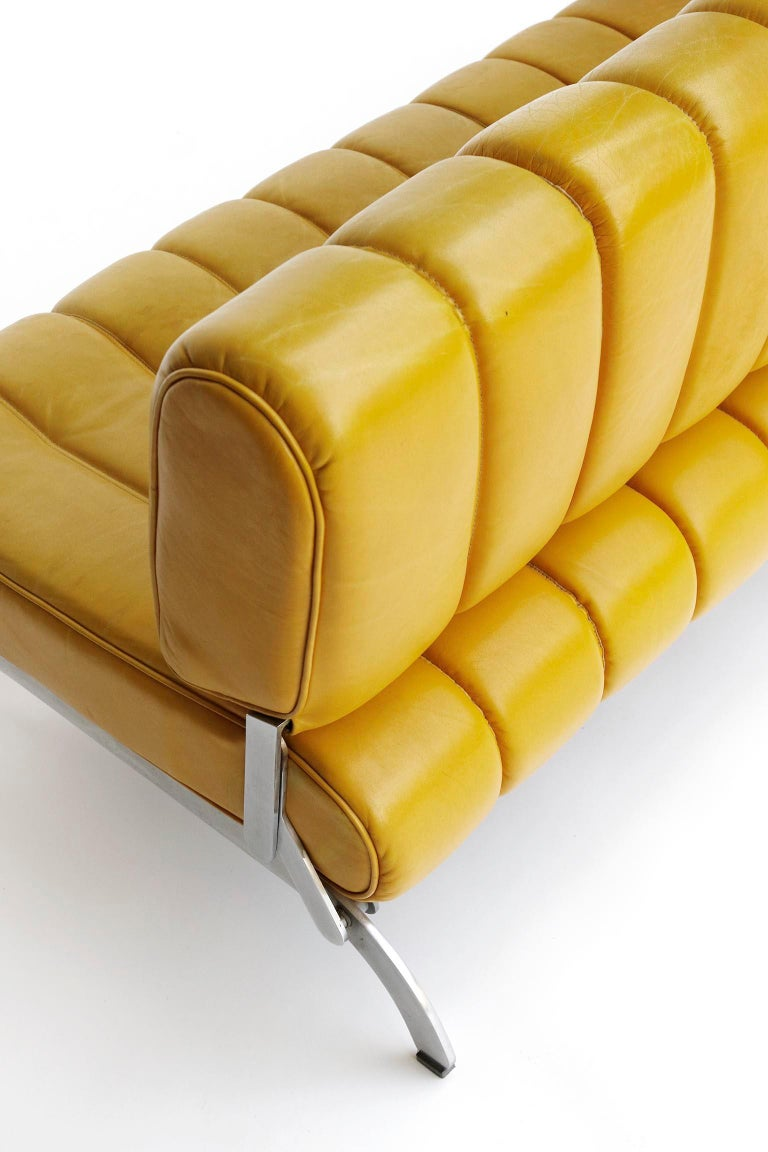 Karl Wittmann Sofa Daybed Independence, Patinated Yellow Leather, Austria, 1970s For Sale 2