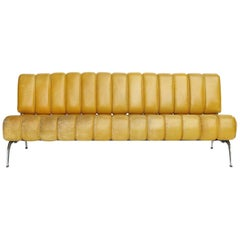 Karl Wittmann Sofa Daybed Independence, Patinated Yellow Leather, Austria, 1970s