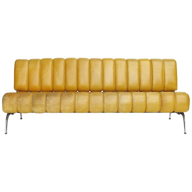 Karl Wittmann Sofa Daybed Independence, Patinated Yellow Leather, Austria, 1970s For Sale