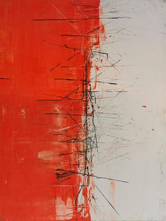 Red and White - Original Abstract Painting - Graffiti Inspired