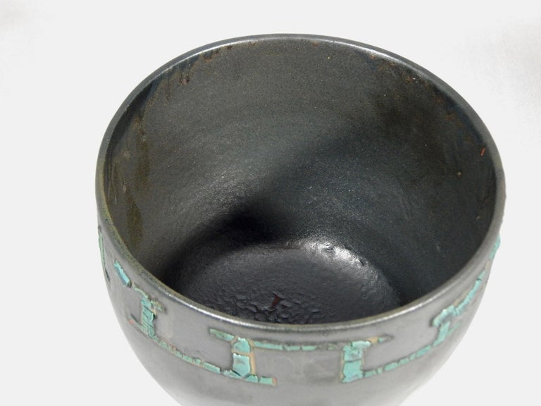 Wheel thrown Karlovy earthenware vessel by ceramicist Andrew Wilder. This is a one of a kind object made in the ancient way- by hand in a small artisanal pottery. In this series Wilder explores the application of lichen under glazes to achieve