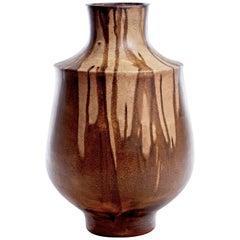 Karlsruhe German Ceramic Drippy Extra Large Striped Vase, circa 1970s