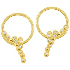 Karma Hoop Earrings in 18 Karat Green Gold with Diamonds 0.18 Carat