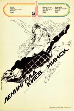 Original Vintage Sport Poster Moscow Olympics 1980 Football Leningrad Kiev Minsk