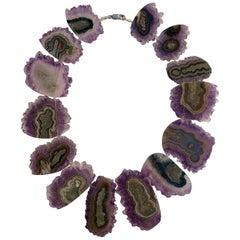 Karolin Amethyst Silver Choker Necklace
