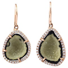 Karolin Green Agate Geode Stud Pave Diamond Rose Gold Earrings