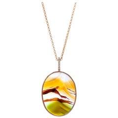 Karolin Landscape Agate Pave Diamond 18 Karat Rose Gold Pendant