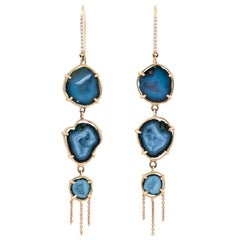 Karolin Rose Gold Agate Geode Pavé Drop Earrings with White Diamonds Hook