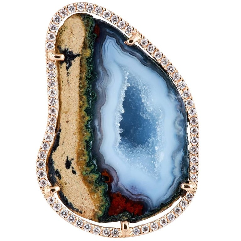 Karolin Rose Gold White Diamond Agate Cocktail Ring