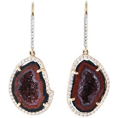 Karolin Rose Gold White Diamond Agate Geode Drop Pavé Hook Earrings