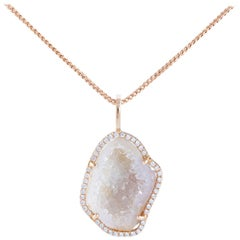 Karolin Rose Gold White Diamond Pendant Agate Necklace