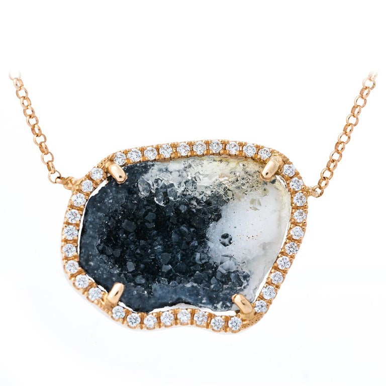 Karolin Rose Gold White Diamond Pendant Agate Necklace For Sale