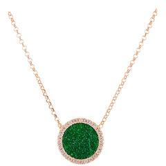 Karolin Rose Gold White Diamond Pendant Green Uvarovite Necklace