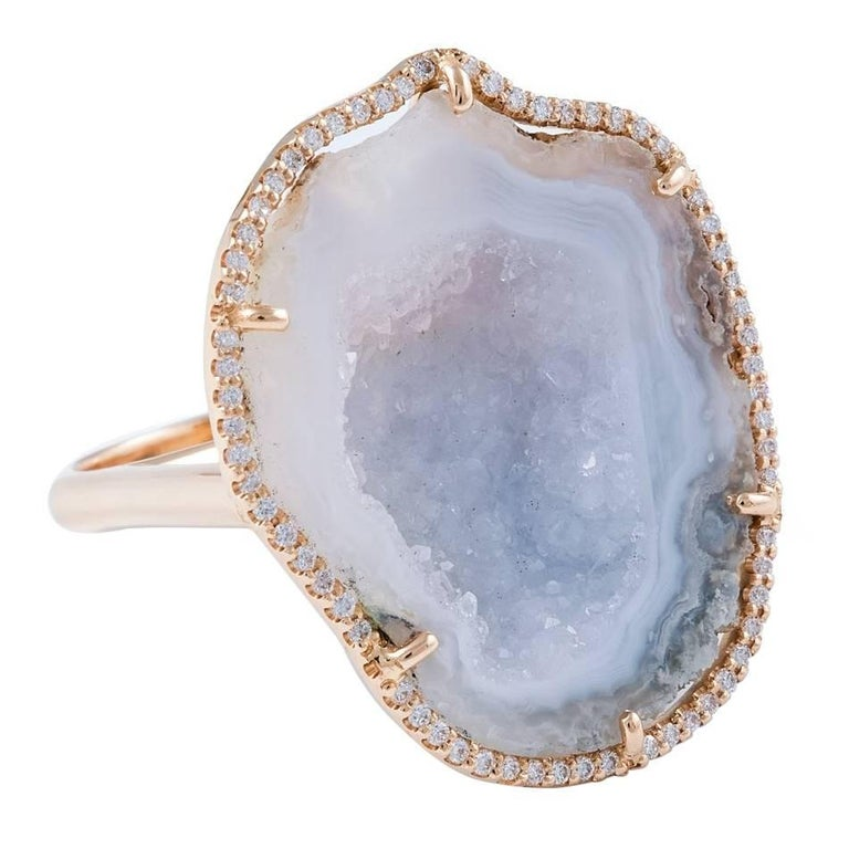 Karolin Rose Gold White Diamond White Agate Geode Cocktail Ring