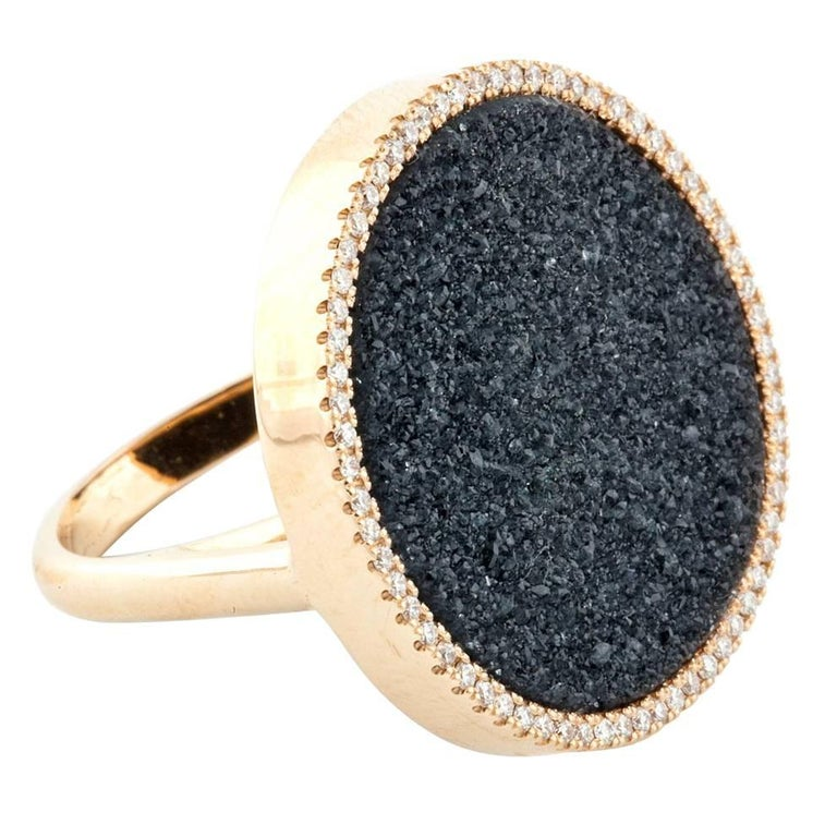 Karolin Rose Gold White Diamonds Black Druzy Agate Cocktail Ring