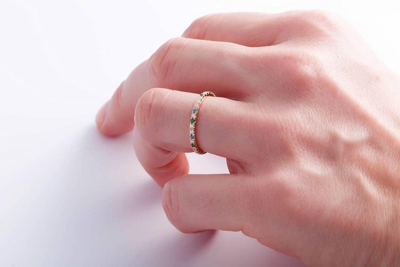 Karolin Wedding Ring 18 Karat Gold White Diamonds Alliance Blue and ...