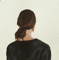 """""""Back Portrait"""" Contemporary Portrait Painting of a Girl with Red Hairband"""